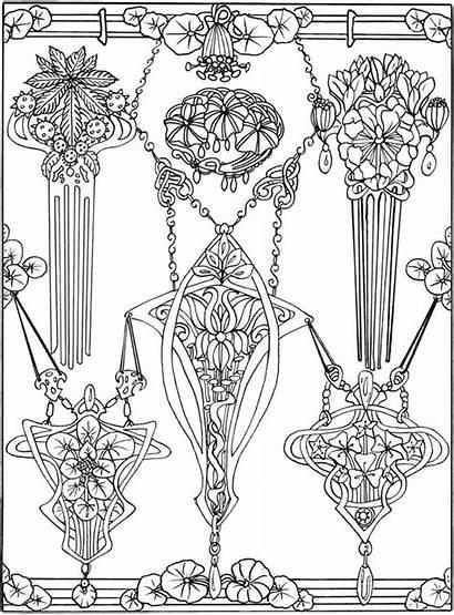 Dover Coloring Pages Publications Nouveau Jewelry Creative
