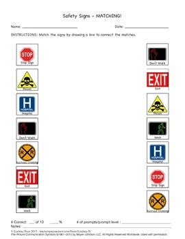 safety signs  symbols worksheets sampler