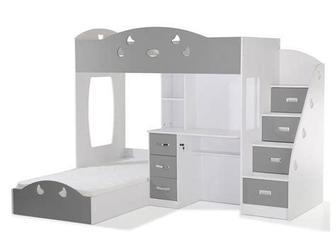 lit superpose avec bureau lit superposé avec rangements et bureau 90x190cm combal