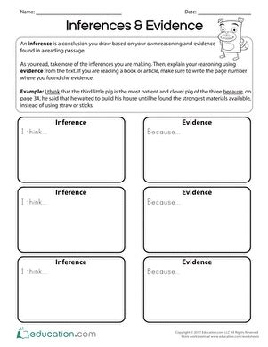 inference comprehension worksheets  grade