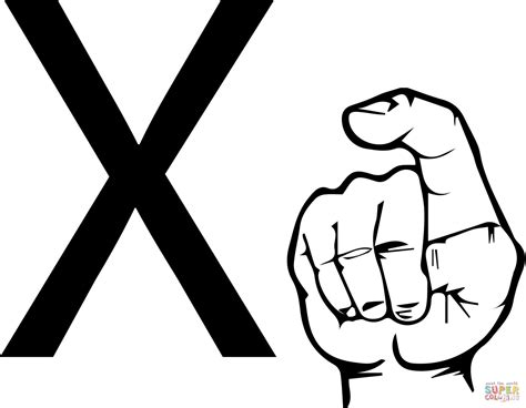 Asl Sign Language Letter X Coloring Page