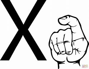 Asl sign language letter x coloring page free printable for Letter a sign