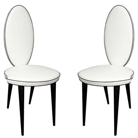 white and black leather oval back chair at 1stdibs