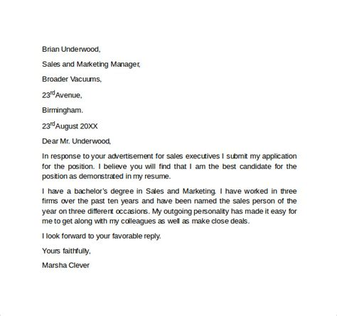 sales focused cover letter