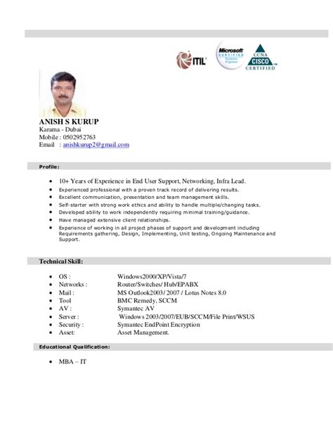 Technical Support Resume India anish kurup cv for technical support jan 2015