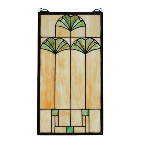 Meyda 67787 Tiffany Arts & Crafts Ginkgo Stained Glass Window