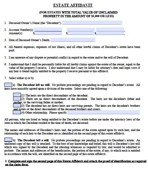 florida affidavit form free free florida small estate affidavit form pdf word