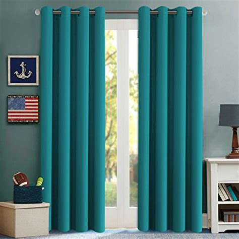 Patio Thermal Drapes - 2 panels turquoise thermal insulated blackout curtains