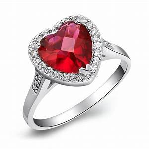 silver plated cz accent red cubic zirconia love heart ring With wedding rings bands of love