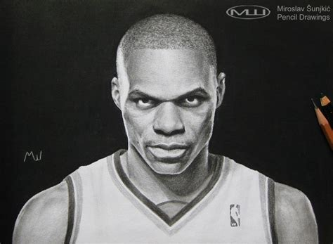 Charcoal Pencil Drawing Of Russell Westbrook Pencil