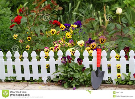 Blooming Fence Of Flowers Royalty Free Stock Images
