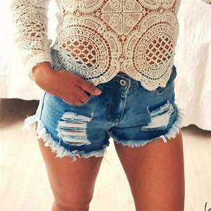 Shorts Jeans Cintura Alta Rasgado Hgh - Compre Agora   Shopping City - Seu estilo o que Importa
