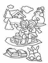 Coloring Winter Printable Seasons Children Sledge Clothes Sledding sketch template