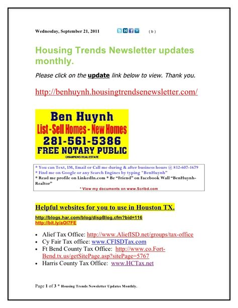 Housing Trends Newsletter by Tip Housing Trends Newsletter Updates Monthly Ben Huynh B