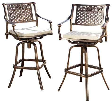 outdoor cast aluminum swivel bar stool w cushion