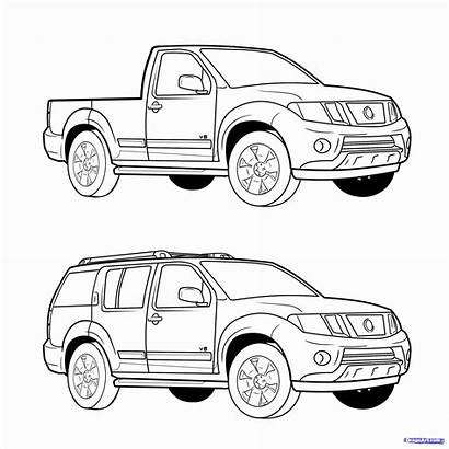 Coloring Pages Truck Suv Toyota Draw Step