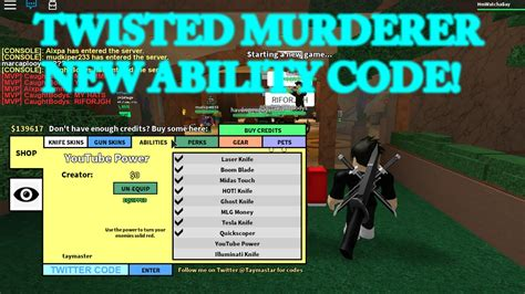 Make sure to check back here because we'll be adding to this post whenever there's more codes! Roblox Twisted Murderer Youtube Knife Code | Robux Engine Download