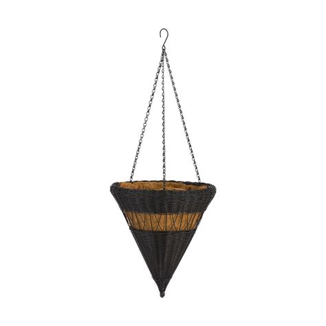 dmc 14 in brown cone resin wicker hanging basket 78303 the home depot