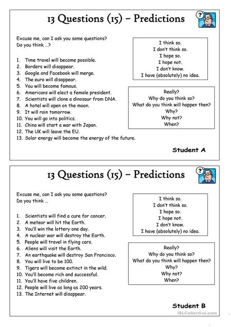 13 Questions (15)  Predictions Worksheet  Free Esl Printable Worksheets Made By Teachers