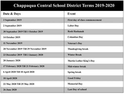 chappaqua central school district academic calendar nyc school