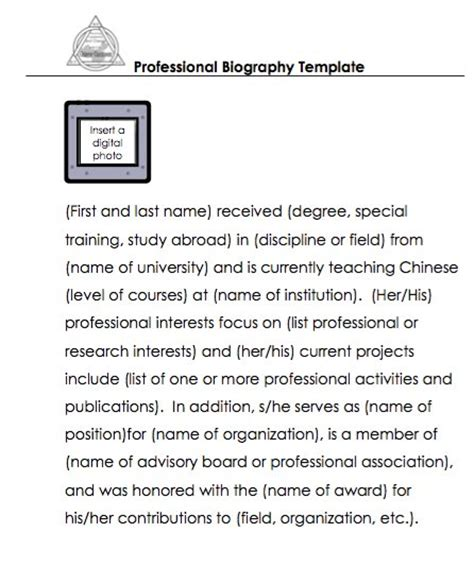 professional bio template 45 biography templates exles personal professional