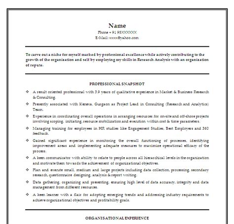 analytics professionals free resume templates