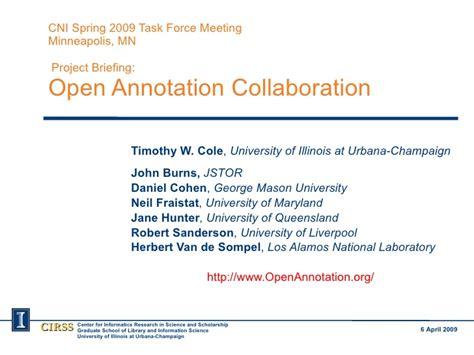 Open Annotation Collaboration Briefing