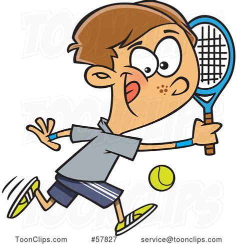 cartoon white boy playing tennis   ron leishman