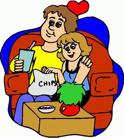 Watching Clipart Tv Clip Couple Settled Cliparts