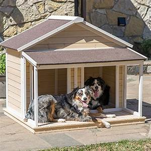 Antique large dog house w roof solid wood penthouse for Outdoor dog house for 2 dogs