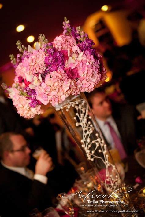ideas  pink hydrangea centerpieces