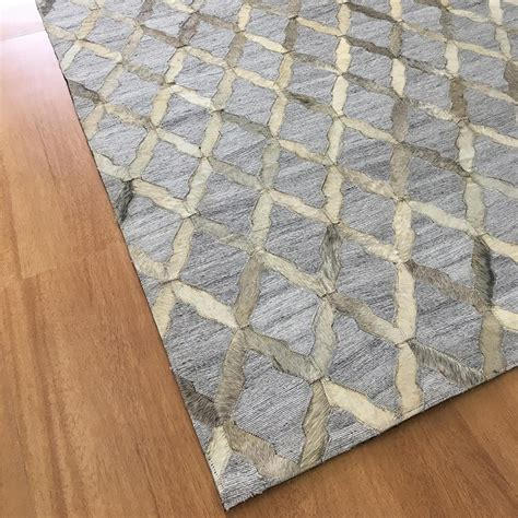 handmade jacquard leather gray ivory rug leather rugs