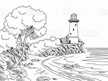Lighthouse Landscape Sea Coast Sketch Graphic Water