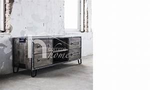 Meuble Bois Et Acier : meuble tv industriel en bois et acier clive ~ Teatrodelosmanantiales.com Idées de Décoration