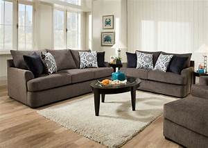 Jarons Grandstand Flannel Sofa And Loveseat