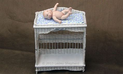 Dollhouse Scale Wicker Change Or Diapering Table Tutorial