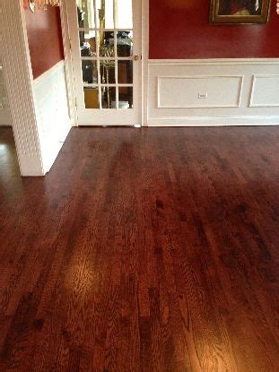 red oak with red mahogany stain and ultraviolet uv