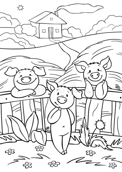 Little pigs in forest stock illustration Illustration of