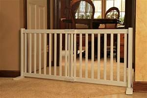 Freestanding expanable wood dog gate pet fence doorway for Dog fence for inside house