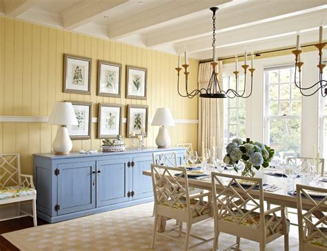 Chicago Curtains For Yellow Walls Dining Room Beach Style