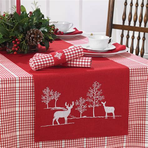 red reindeer table runner by ella james