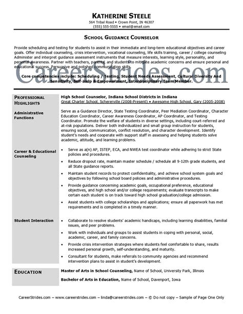 Counseling Resume Objective by School Guidance Counselor Resume Sle Exle