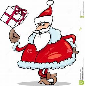 Santa With Gift Cartoon Illustration Stock Vector - Image ...