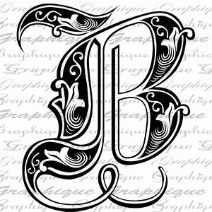 letter initial b monogram old engraving style type text With fancy initial letters