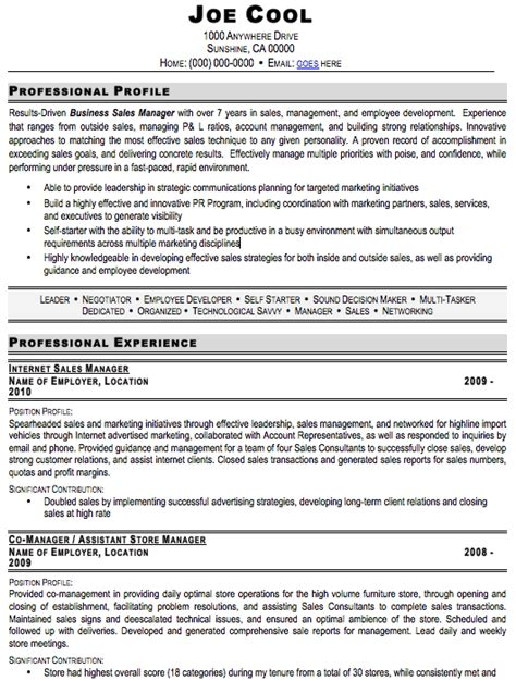 resume sle free template professional sales manager