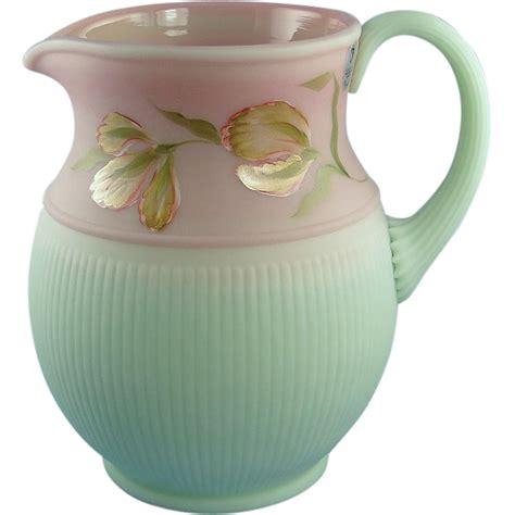 Fenton Burmese L by Fenton Lotus Mist Burmese Pitcher Blushing Tulip Design