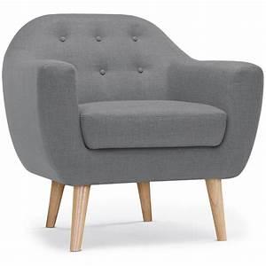 Canapé Et Fauteuil Scandinave : fauteuil scandinave rocky tissu gris ~ Teatrodelosmanantiales.com Idées de Décoration
