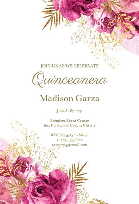 vintage pink  gold roses quinceanera invitation