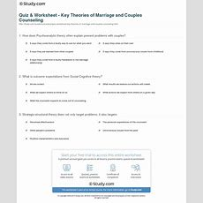 Quiz & Worksheet  Key Theories Of Marriage And Couples Counseling Studycom