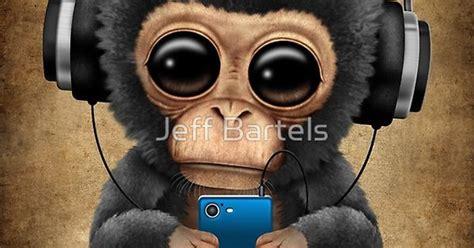 chimpanzee dj  headphones  cell phone jeff